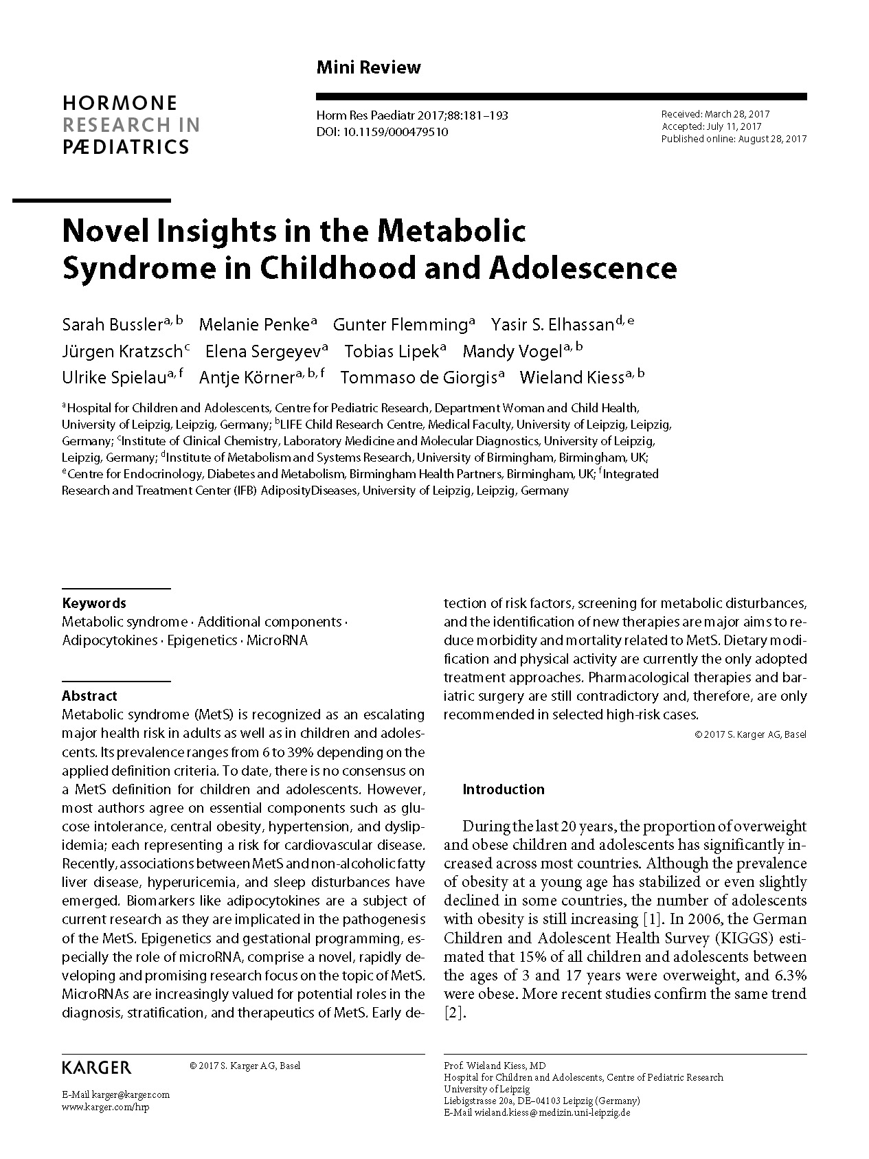 Novel Insights in the Metabolic Syndrome in Childhood and Adolescence
