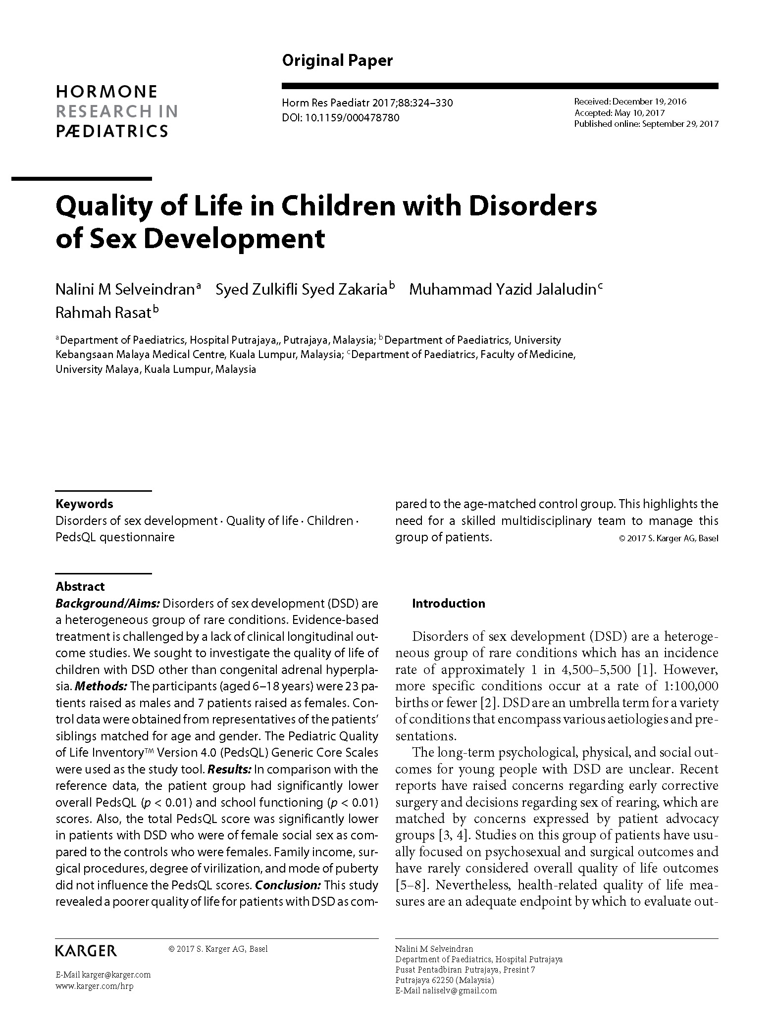 Quality of Life in Children with Disorders of Sex Development