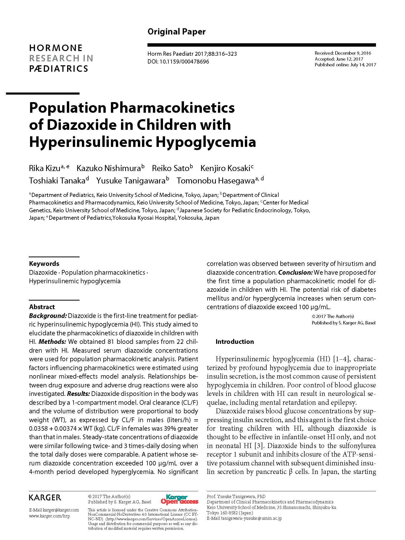Population Pharmacokinetics of Diazoxide in Children with Hyperinsulinemic Hypoglycemia