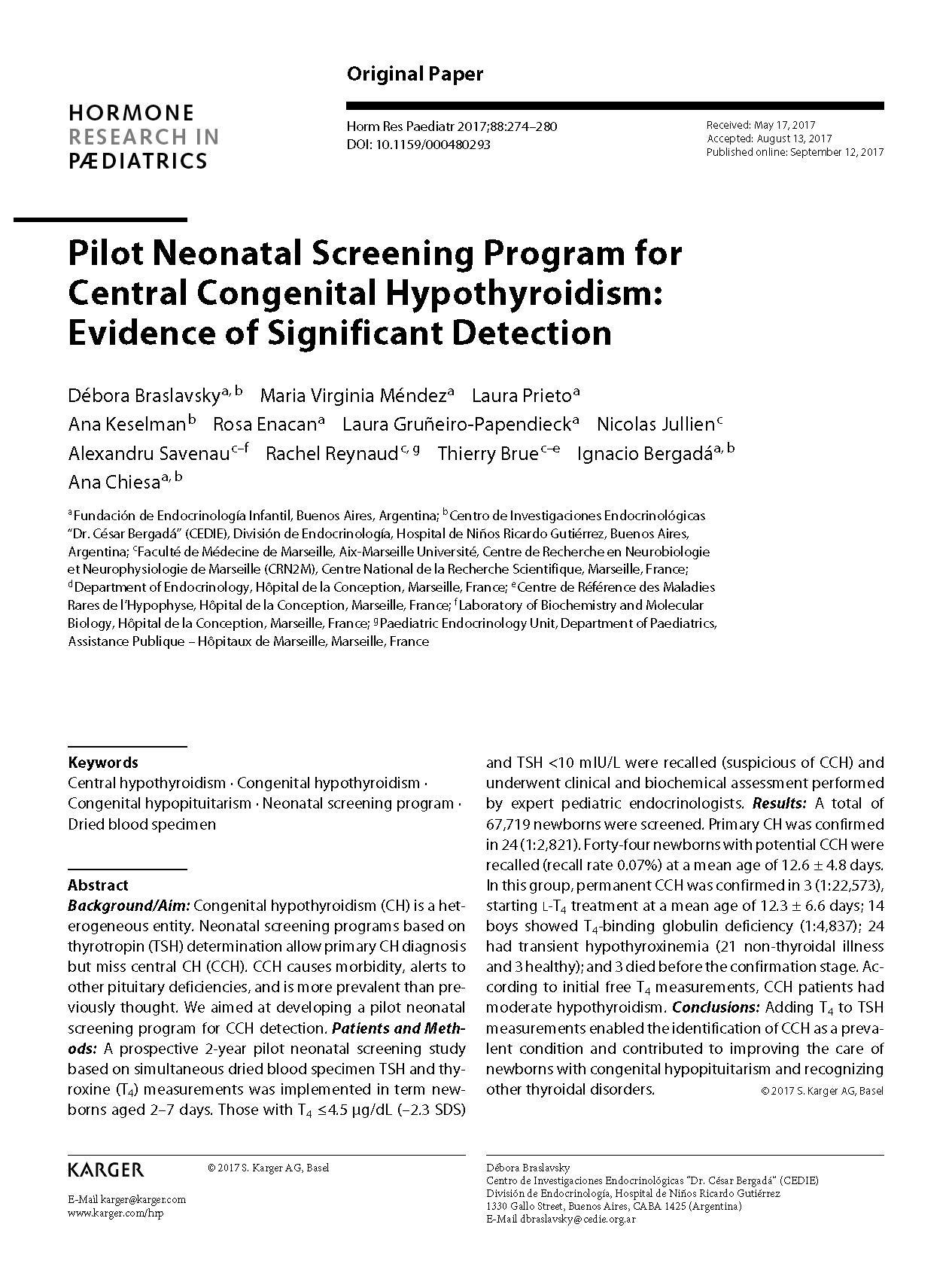 Pilot Neonatal Screening Program for Central Congenital Hypothyroidism: Evidence of Significant Detection